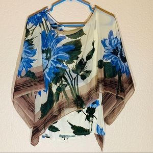 Anthropologie Floral Poncho Sheer Blouse by Tiny